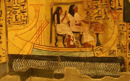 Water in blue with the black waves. Tomb of Pashedu in Deir el-Medina. XIX Dynasty. Photo: Mª Rosa Valdesogo Martín.