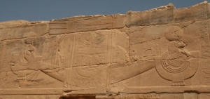 Barque of Amon. Relief from the mortuary temple of Seti I in Dra Abu el-Naga. XIX Dynasty. Photo: Mª Rosa Valdesogo Martín