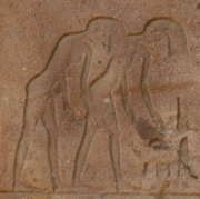 Two women shaking their hairs. Relief from the Red Chapel of Hatshepsut in Karnak. Photo: Mª Rosa Valdesogo Martín