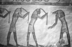 Mourners of Re pulling hair. Section two of the Book of Caverns. Tomb of Ramses VI. XX Dynasty.