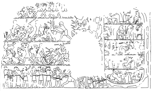Drawing of the relief in the tomb of Inti. Inside the fortress we can see the major and a woman, both pulling their lock of hair. Dishasha. VI Dynasty.