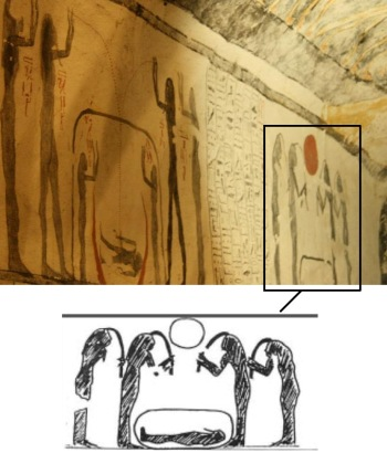 Women pulling lock of hair over the dead. Tomb of Ramses IX. Valley of the Kings. XX Dynasty. Photo: Mª Rosa Valdesogo Martín.