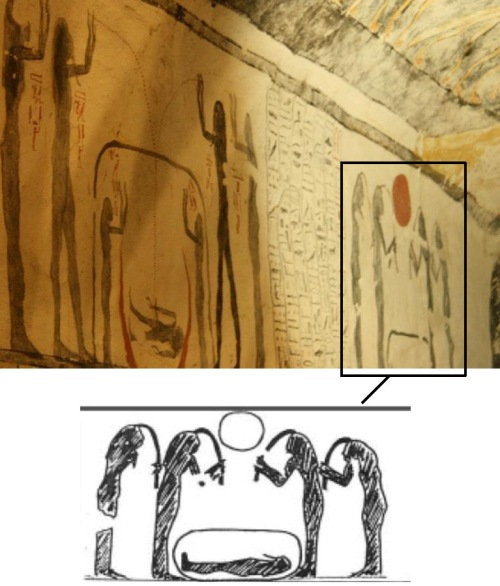 Women pulling lock of hair over the dead. Tomb of Ramses IX. Valley of the Kings. XX Dynasty. Ancient Egypt