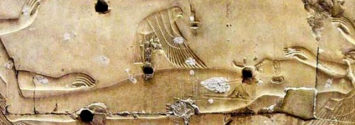 Isis as a kite flaps wings and put herself over her husband.  Relief from the temple of Seti I in Abydos.  XIX Dynasty. Photo: www.passion-egyptienne.fr