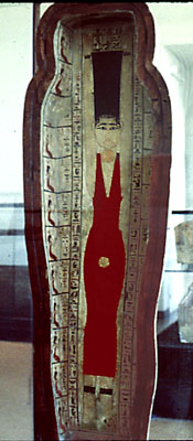 Coffin of Khenstefnakht from the Late Period. Inside the cover, the goddess Nut with her hair standing up. She swallows the evening sun and gives birth the morning sun. Musée Royaux d'Art et d'Histoire (Brussels). Photo: www.vroma.org