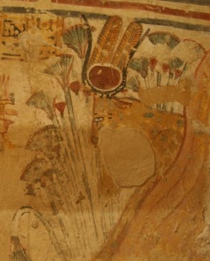 The goddess Hathor in the flank of the west mountain ready for receiving the dead. Painting from the tomb of Shuroy in Dra Abu el-Naga. XIX Dynasty. Phot: Mª Rosa Valdesogo Martín.