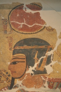 Amehotep I with the ureus in his forehead. Painting from the tomb of Inerkha in Deir el-Medina. Altes Museum of Berlin. XX Dynasty. Photo: Mª Rosa Valdesogo Martín
