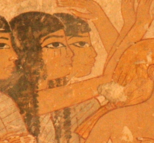 Mourners with tears falling from their eyes (water) and hair on both sides of the face (vegetation). The image could be a metaphor of the Egyptian landscape, made up by the Nile and the both shores of the river. Painting from the tomb of Ramose in Gourna. XVIII Dynasty. Photo: Mª Rosa Valdesogo Martín.