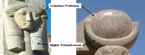 Comparison of image of Hathor from Deir el-Bahari (Photo: www.1worldtours.com) and lunar head-dress of Thot in Medinet Habu (Photo: Mª Rosa Valdesogo Martín)