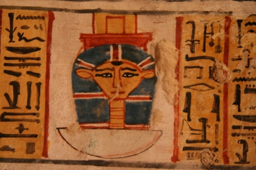 Image of Hathor with her two ringlets at both sides of the face. paintign from the tomb of Roy in Dra Abu el-Naga. XVIII Dynasty. Photo: Mª Rosa Valdesogo Martín.