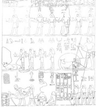 Funerary scene of the tomb of Montuherkhepeshef in Dra Abu el-Naga. XVIII Dynasty.