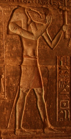The god Thoth. Relief from the ptolemaic temple in Deir el-Medina. Photo: Mª Rosa Valdesogo Martín.