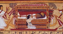 Close to the mummy the wife cries, while the two mourners in the role of Isis and Nephtys stand at both extremes. Detail from the Papyrus of Ani. XIX Dynasty. Photo: www.wikimedia.org