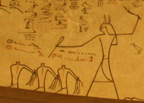 Beheading the enemies of Osiris. Paiting from the tomb of Tutmosis III in the Valley of the Kings. XVIII Dynasty. Photo: Mª Rosa Valdesogo Martín.