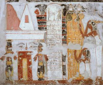 Opening of the Mouth ceremony at the door of the tomb. Painitgn from the tomb of Khonsu in Gourna. XIX Dynasty. Photo: www.osirisnet.net
