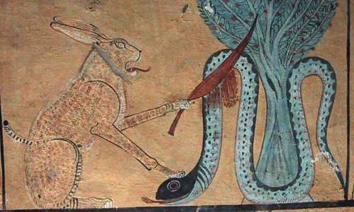 Beheading the snake as an image of the evil. The cat of Heliopolis killing the snake Apohis, enemy of Re. Painting from the tomb of Inerkha in Deir el-Medina. XIX Dynasty. Photo: www.osirisnet.net