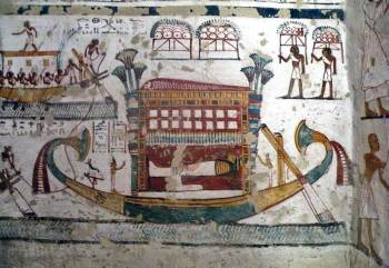 The wife is kneeling and crying, Isis stands on the left and Nephtys on the right. Painting from the tomb of Samut in Assassif. XIX Dynasty. Photo: www.osirisnet.net