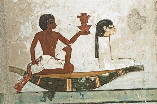 Carrying the leg and the heart for the deceased. Painting from the tomb of Menna in Gourna. XVIII Dynasty. Photo: www.osirisnet.net
