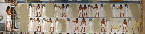 Opening of the Mouth ceremony from the tomb of Menna in Gourna. XVIII Dynasty. Photo: www.osirisnet.net