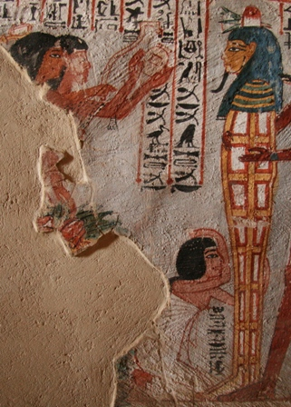 The two priests and one mourner (the wife according to the inscription) in the Opening of the Mouth of Roy. Painting from the tomb of Roy in Dra Abu el-Naga. XVIII Dynasty. Photo: Mª Rosa Valdesogo Martín.