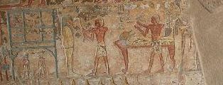On the right the mourner in nwn gesture towards the corpse. Scene from the tomb of Renni in el-Kab. XVIII Dynasty. Photo: www.osirisnet.net
