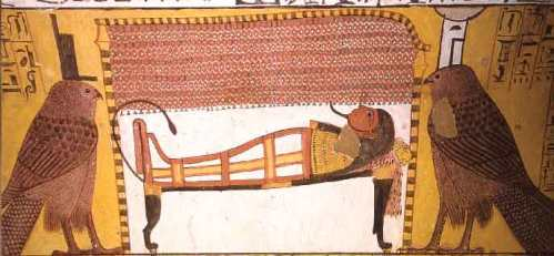 Isis and Nephtys as the two kites. Painting from the tomb of Sennedjem in Deir el-Medina. XIX Dynasty. Photo: www.osirisnet.net