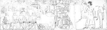The tekenu on a sledge. Detail from the tomb of Montuherkhepeshef in Gourna. XVIII Dynasty. Image: www.excavacionegipto.com