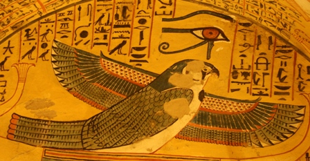 Sokaris, as a falcon, with the Udjat eye over him, spread his wings for fliying up. Painting from the tomb of Pashedu in Deir el-Medina. XIX Dynasty. Photo: Mª Rosa Valdesogo Martín.