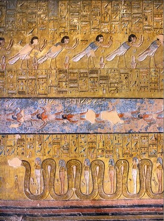 "In the ninth hour of the Book of the Gates there is the ""pool of the drowned"". These are the waters of the Nun with bodies floating. These are the primeval waters, which revives the deceased. Scene from the tomb of Tauseret in the Valley of the Kings. XIX Dynasty. Photo: www.thebanmappingproject.com"