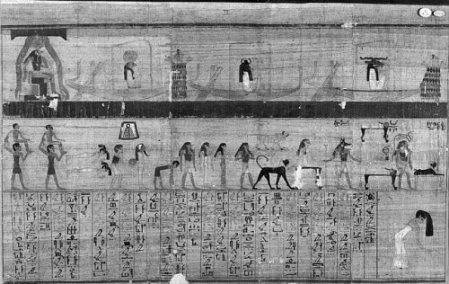 Papyrus of Muthetepti with mourning women in the cortège of Re. British Museum. XXI Dynasty. Photo: www.britishmuseum.org