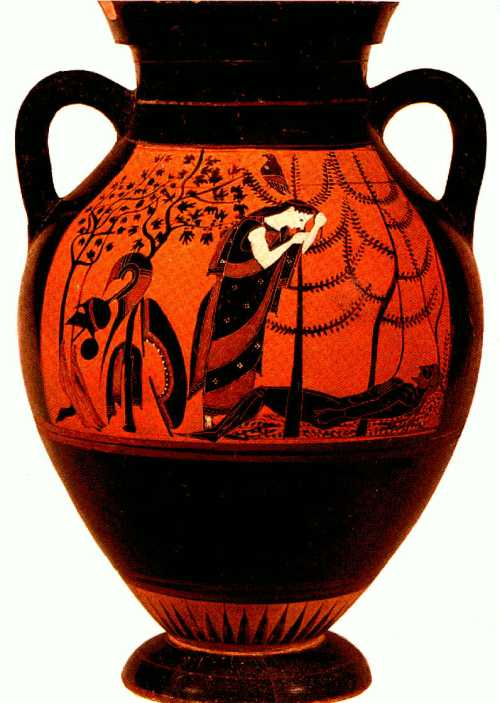 Eos mourning the death of  Memnon. Amphora in Etruscan museum in Vatican. VI BC. photo: www.facukty.gvsu.edu
