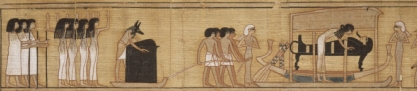 Cortège with the common mourners, the deceased's wife and the two Drty in the role of Isis and Nephtys. Papyrus of Nebqed. Musée du Louvre. XVIII Dynasty. Photo: www.eu.art.com