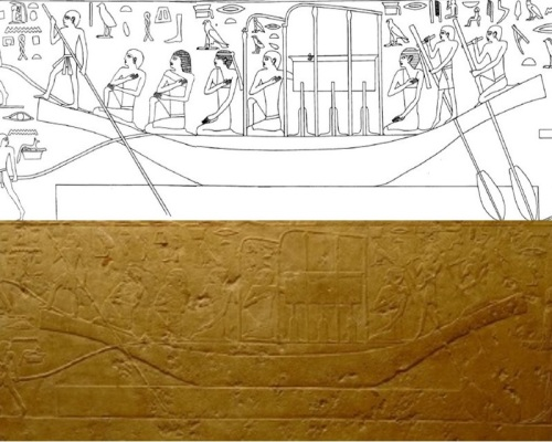 Scene of the funerary procession from the mastaba of Qar in Giza (Egypt). V-VI Dynasty. The two Drty with no mane of hair are at both extremes of the coffin. Image from Simpson, W.K., The Mastabas of Qar and Idu in Giza. G 7101 and 7102. Boston, 1976, fig. 24