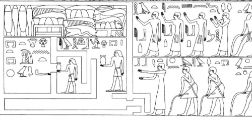 "Dancing and clapping in fronnt of the tomb. The inscription above says: ""mourning by the two acacias"". Tomb of Qar in Giza. Ancient Egypt. V-VI Dynasty. Image: W. K. Simpson"