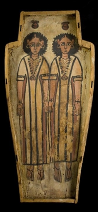 Double coffin of Petamun and Penhorpabik. In the image a double image of Nut inside the lid. Funerary ceremony in Ancient Egypt.