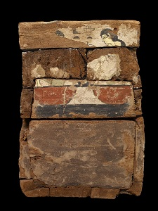 The two mourners in the role of Isis and Nephtys at the feet of the lid in a rishi coffin. XVIII Dynasty.Funeral in Ancient Egypt
