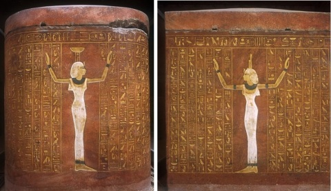 Nephtys at the head of the coffin and Isis at the feet. Coffin of Thutmes IV. XVIII Dynasty. Ancient Egypt