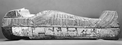 Rishi coffin. Right side with the Opening of the Mouth ceremony.XVII-XVIII Dynasty. Thebes. Funeray ceremony in Ancient Egypt