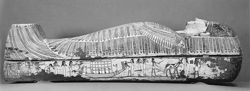 Rishi coffin. Right side with the funerary procession. On the left a common mourner shaking hair forwards. XVII-XVIII Dynasty. Thebes. Funerary ceremony in Ancient Egypt.