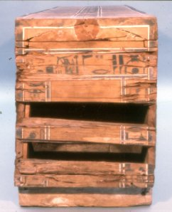 Coffin of Sepi from el Bersha. XII Dynasty. Outer feet end. Nut places Isis at the feet. Ancient Egypt.