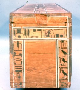 Coffin of Sepi from el-Bersha. XII Dynasty. Outer head end. Nut places Nephtys at the head. Ancient Egypt.