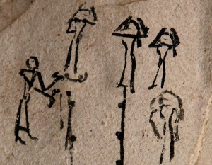 Ostracon with funerary scene. Detail of common mourners. New Kingdom. Manchester Museum. Ancient Egypt.