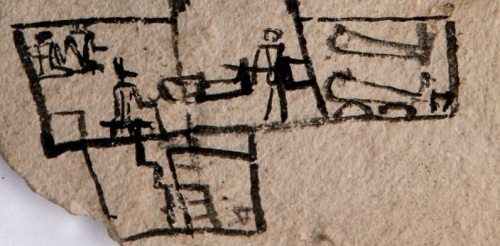 Ostracon with funerary scene. Detail of the inside. New Kingdom. Manchester Museum. Ancient Egypt.