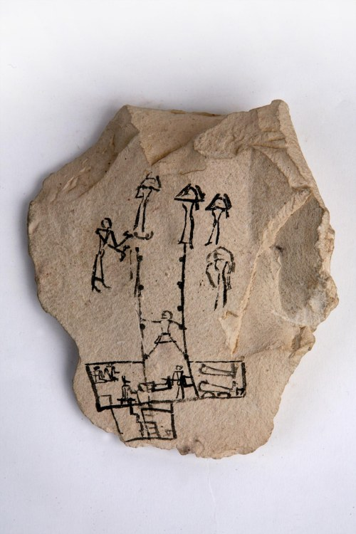 Ostracon with funerary scene. New Kingdom. Manchester Museum. Ancient Egypt