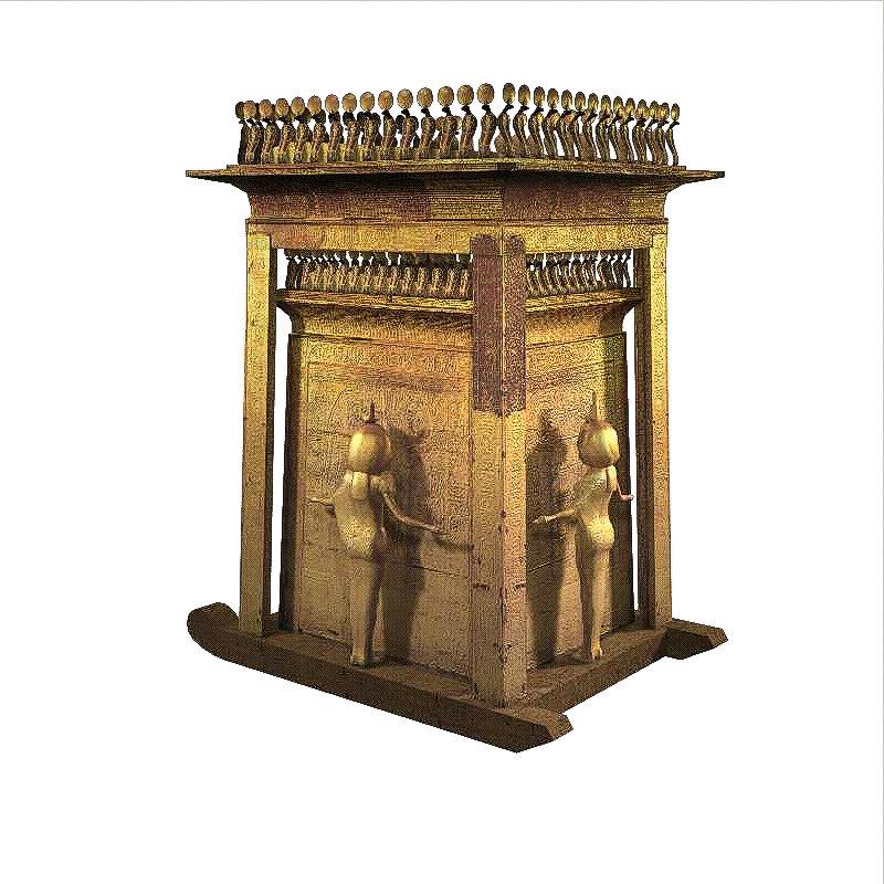 Isis, Nephtys, Neith and Serket. Four Divine Egyptian Mourne Canopic-shrine-of-tutankhamun-serket-ancient-egypt