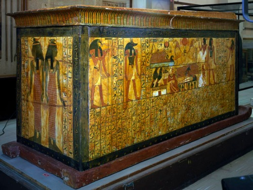 Coffin of Khonsu, Sennedjem's son, from Deir el-Medina. Neith and Serket at the feet end. XIX Dynasty. Ancient Egypt.