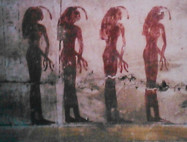 Isis, Nephtys, Neith and Serket. Four Divine Egyptian Mourne Four-mourners-for-osiris-temple-of-abydos-ancient-egypt