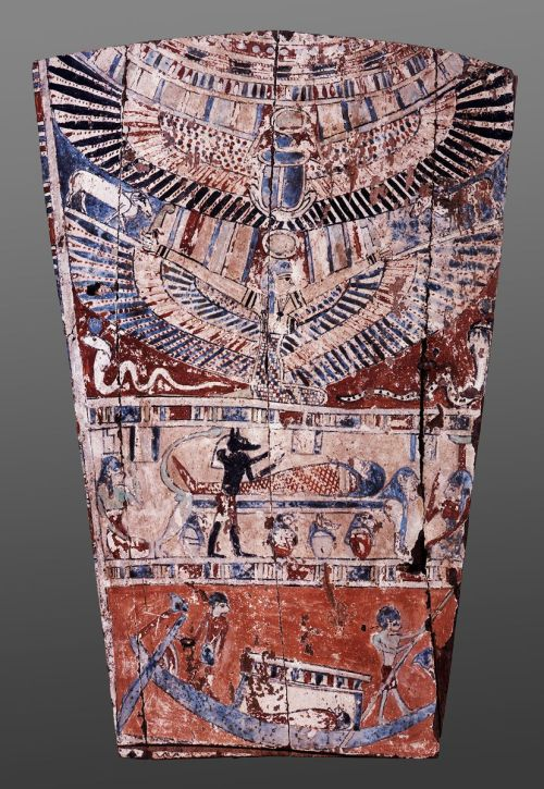 Mourning scene in a fragment of a coffin. V century BC. Ancient Egypt. Museum of Budapest