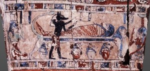 Restoring rites. Anubis emblaming the corpse and Isis and Nephtys at both ends making the mourning rite. Ancient Egypt