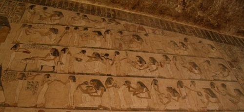 Banquet in Rekhmire's tomb.Ancient Egypt. Egyptian Art